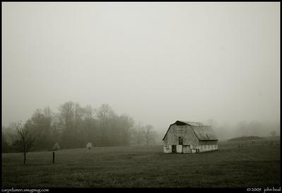 (16Mar09)  misty fog on vaughter's farm.  one year ago.  f/5, 1/1000s, iso 400.